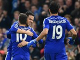 Cesc Fabregas of Chelsea hugs Eden Hazard of Chelsea after he scored their second goal during the Barclays Premier League match between Chelsea and West Bromwich Albion at Stamford Bridge on November 22, 2014