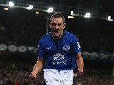 Leon Osman of Everton celebrates scoring his goal during the Barclays Premier League match between Everton and West Ham United at Goodison Park on November 22, 2014