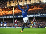 Romelu Lukaku of Everton celebrates scoring the opening goal during the Barclays Premier League match between Everton and West Ham United at Goodison Park on November 22, 2014