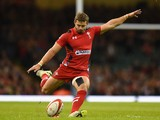 Wales player Leigh Halfpenny kicks at goal during the Autumn international match between Wales and Australia at Millennium Stadium on November 8, 2014