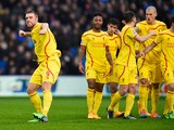 Rickie Lambert of Liverpool celebrates scoring the opening goal during the Barclays Premier League match between Crystal Palace and Liverpool at Selhurst Park on November 23, 2014