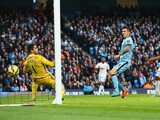 Stevan Jovetic of Manchester City scores his goal during the Barclays Premier League match between Manchester City and Swansea City at Etihad Stadium on November 22, 2014