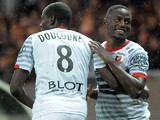 Rennes' French forward Paul-Georges Ntep celebrates after scoring a goal during the French L1 football match between Guingamp and Rennes at the Roudourou stadium in Guingamp, western France, on November 22, 2014