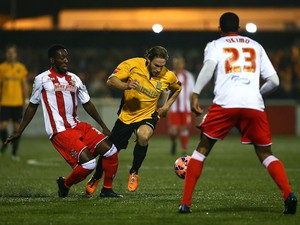 Maidstone's Matt Bodkin attacks during the FA Cup First Round Reply between Maidstone United and Stevenage at The Gallagher Stadium on November 20, 2014