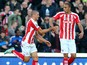 Jonathan Walters of Stoke City celebrates scoring his team's first goal during the Barclays Premier League match between Stoke City and Burnley at the Britannia Stadium on November 22, 2014