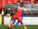 Igor Vetokele of Charlton Athletic and Luke Chambers of Ipswich Town in action during the Sky Bet Championship match between Charlton Athletic and Ipswich Town at The Valley on November 29, 2014