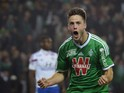 Saint-Etienne's Dutch forward Ricky Van Wolfswinkel celebrates after scoring a goal during the French L1 football match AS Saint-Etienne (ASSE) vs Lyon (OL) on November 30, 2014