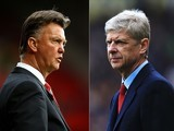Composite image a comparision has been made between Louis van Gaal, manager of Manchester United and Arsene Wenger, manager of Arsenal