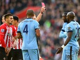 Eliaquim Mangala of Manchester City is shown a red card by referee Mike Jones and is sent off during the Barclays Premier League match between Southampton and Manchester City at St Mary's Stadium on November 30, 2014