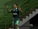Sporting's midfielder Luis Carlos da Cunha 'Nani' celebrates after scoring during the UEFA Champions League football match Sporting CP vs NK Maribor at the Jose Alvalade stadium in Lisbon on November 25, 2014