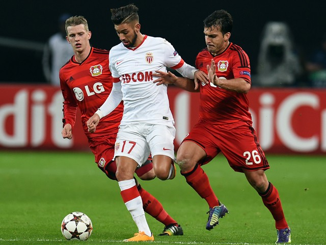 Leverkusen's Italian defender Giulio Donati, Leverkusen's midfielder Lars Bender and Monaco's Belgian midfielder Yannick Ferreira Carrasco vie for the ball during the UEFA Champions League second leg Group C football match Bayer 04 Leverkusen vs AS Monaco