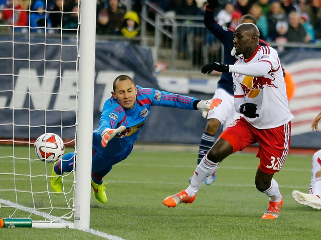 Luis Robles #31 of New York Red Bulls allows a goal by Charlie Davies #9 (not seen) of the New England Revolution in the first half against New York Red Bulls during Leg 2 of the MLS Eastern Conference Final at Gillette Stadium on November 29, 2014
