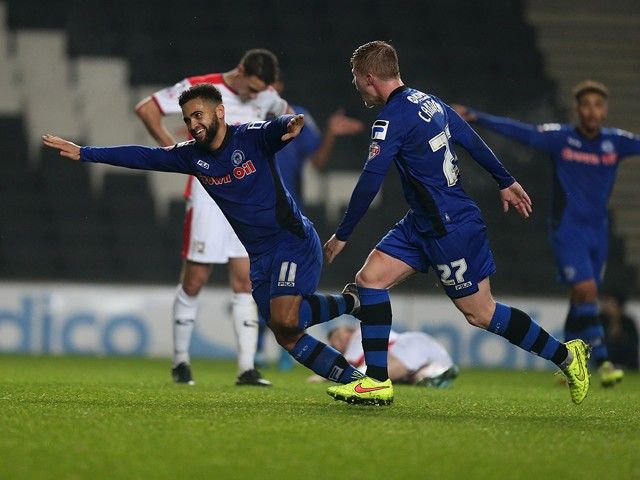 Reuben Noble-Lazarus of Rochdale celebrates after scoring his sides 2nd goal during the Sky Bet League One match between MK Dons and Rochdale at Stadium mk on November 25, 2014