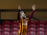 Billy Clarke of Bradford City celebrates scoring the first goal during the FA Cup Second Round football match between Bradford City and Dartford at Coral Windows Stadium, Valley Parade on December 7, 2014