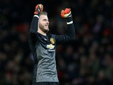 David De Gea of Manchester United celebrates at the end of the Barclays Premier League match between Manchester United and Stoke City at Old Trafford on December 2, 2014