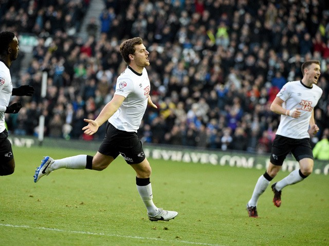 Chris Martin of Derby celebrates his first goal during the Sky Bet Championship match between Derby County and Brighton & Hove Albion at the Pride Park Stadium on December 6, 2014