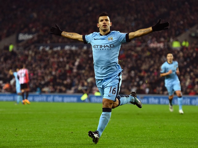 Sergio Aguero of Manchester City celebrates after scoring during the Barclays Premier League match between Sunderland and Manchester City at Stadium of Light on December 3, 2014