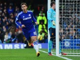 Eden Hazard of Chelsea (10) celebrates as he scores their first goal during the Barclays Premier League match between Ch