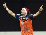 Montpellier's French forward Anthony Mounier celebrates after scoring a goal during the French L1 football match between Montpellier and Lens on December 13, 2014