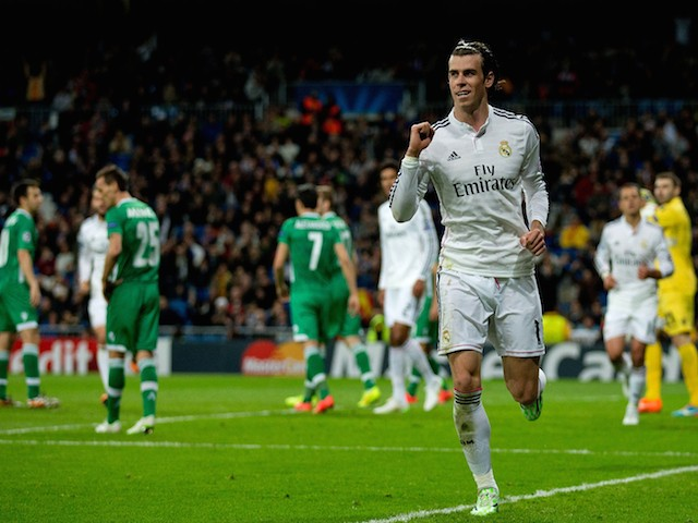 Gareth Bale of Real Madrid CF celebrates scoring their second goal during the UEFA Champions League Group B match against Ludogorets on December 9, 2014