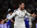 Real Madrid's defender Sergio Ramos celebrates after scoring a goal during the FIFA World Club Cup semi-final football match against Cruz Azul on December 16, 2014