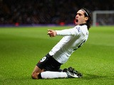Radamel Falcao Garcia of Manchester United celebrates scoring their first goal during the Barclays Premier League match between Aston Villa and Manchester United at Villa Park on December 20, 2014