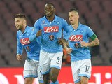 Duvan Zapata of Napoli celebrates after scoring the opening goal during the Serie A match betweeen SSC Napoli and FC Parma at Stadio San Paolo on December 18, 2014