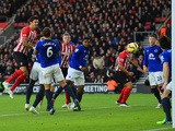 Jose Fonte of Southampton heads towards goal and his effort is deflected in by Ross Barkley of Everton during the Barclays Premier League match between Southampton and Everton at St Mary's Stadium on December 20, 2014