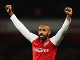 Thierry Henry of Arsenal celebrates at the end of the FA Cup Third Round match between Arsenal and Leeds United at the Emirates Stadium on January 9, 2012