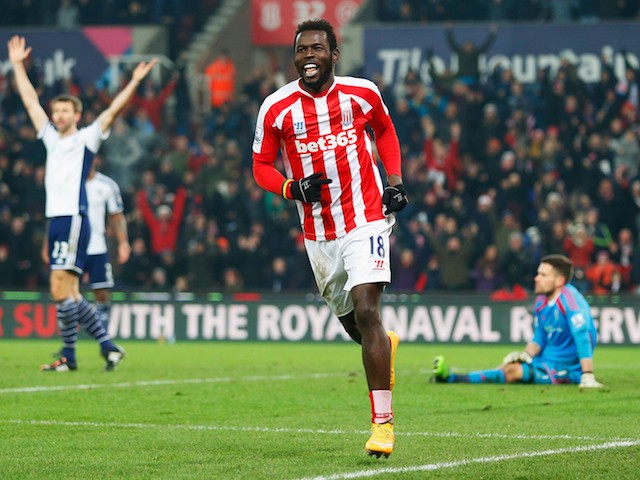 Mame Biram Diouf of Stoke City celebrates as he scores their second goal during the Barclays Premier League match on December 28, 2014