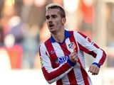 Antoine Griezmann of Atletico de Madrid celebrates scoring their opening goal during the La Liga match Levante UD on January 3, 2015