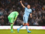Frank Lampard of Manchester City celebrates his team's third goal during the Barclays Premier League match between Manchester City and Sunderland at Etihad Stadium on January 1, 2015