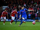 Peter Vincenti of Rochdale scores the opening goal from the penalty spot during the FA Cup Third Round match between Rochdale and Nottingham Forest at Spotland Stadium on January 3, 2015