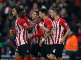 Morgan Schneiderlin #4 of Southampton celebrates with teammates after scoring a goal to level the scores at 1-1 during the FA Cup Third Round match between Southampton and Ipswich Town at St Mary's Stadium on January 4, 2015