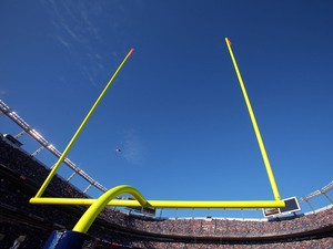 A general view of the goal post against the blue sky as the Denver Broncos host the San Diego Chargers during NFL action at Invesco Field at Mile High on November 22, 200