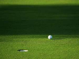 General detail of a golf ball next to a hole during the first round of the Majorca Classic 2004 at Pula Golf Club on October 14, 2004