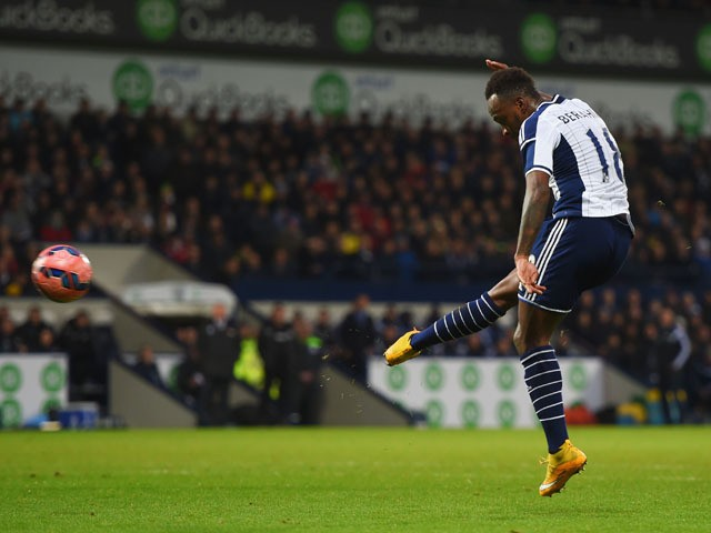 Saido Berahino of West Bromwich Albion scores their first goal during the FA Cup Third Round match between West Bromwich Albion and Gateshead at The Hawthorns on January 3, 2015
