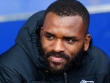 Derby County substitute Darren Bent sits on the bench before kick off during the Sky Bet Championship match between Ipswich Town and Derby County at Portman Road on January 10, 2015