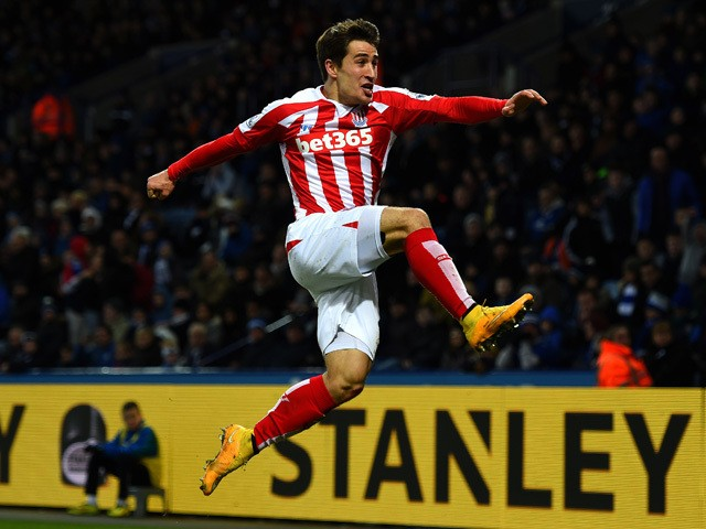 Bojan Krkic of Stoke City celebrates after scoring the opening goal during the Barclays Premier League match between Leicester City and Stoke City at The King Power Stadium on January 17, 2015