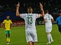 Algeria's forward Islam Slimani celebrates after scoring a goal during the 2015 African Cup of Nations group C football match between Algeria and South Africa in Mongomo on January 19, 2015