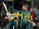 Steven Smith of Australia salutes the crowd after reaching his century during the One Day International Tri Series match between Australia and England at Blundstone Arena on January 23, 2015