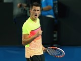 Bernard Tomic in action on day three of the Australian Open on January 21, 2015