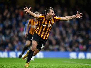 Filipe Morais of Bradford City celebrates after scoring his team's second goal to level the scores at 2-2 during the FA Cup Fourth Round match between Chelsea and Bradford City at Stamford Bridge on January 24, 2015