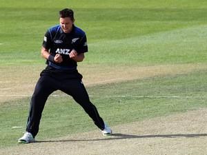 Trent Boult of New Zealand celebrates taking the wicket of Mahela Jayawardene of Sri Lanka during the One Day International match between New Zealand and Sri Lanka at University Oval on January 23, 2015