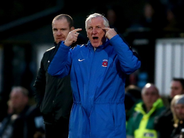 Hartlepool manager Ronnie Moore gestures from the sidelines during the Sky Bet League Two match between Wycombe Wanderers and Hartlepool United at Adams Park on January 3, 2015