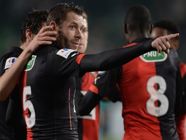 Rennes defender Sylvain Armand celebrates after scoring a penalty against Reims on January 22, 2015