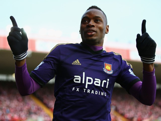 Diafra Sakho of West Ham United celebrates scoring his side's opening goal during the FA Cup Fourth Round match between Bristol City and West Ham United at Ashton Gate on January 25, 2015
