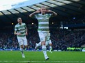 Leigh Griffiths of Celtic celebrates scoring the opening goal during the Scottish League Cup Semi-Final between Celtic and Rangers at Hampden Park on February 1, 2015