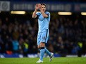 Frank Lampard of Manchester City applauds the crowd at the end of the Barclays Premier League match between Chelsea and Manchester City at Stamford Bridge on January 31, 2015