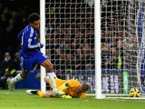 Loic Remy of Chelsea turns to celebrate after scoring the opening goal past Joe Hart of Manchester City during the Barclays Premier League match between Chelsea and Manchester City at Stamford Bridge on January 31, 2015